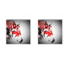 Red Black Wolf Stamp Background Cufflinks (square) by Nexatart