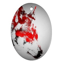 Red Black Wolf Stamp Background Oval Ornament (two Sides) by Nexatart