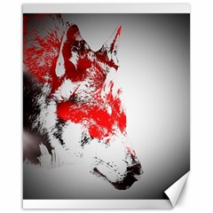 Red Black Wolf Stamp Background Canvas 16  X 20   by Nexatart