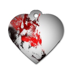 Red Black Wolf Stamp Background Dog Tag Heart (two Sides)
