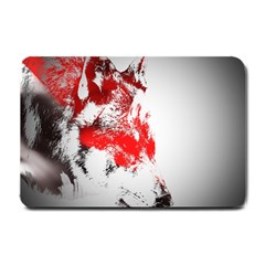 Red Black Wolf Stamp Background Small Doormat  by Nexatart
