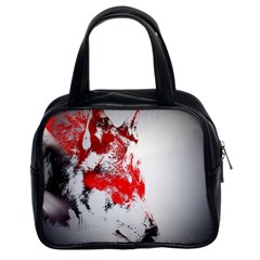 Red Black Wolf Stamp Background Classic Handbags (2 Sides) by Nexatart