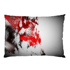 Red Black Wolf Stamp Background Pillow Case by Nexatart