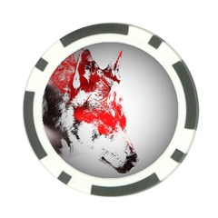 Red Black Wolf Stamp Background Poker Chip Card Guard (10 Pack)