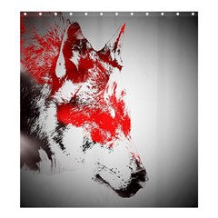 Red Black Wolf Stamp Background Shower Curtain 66  X 72  (large)  by Nexatart