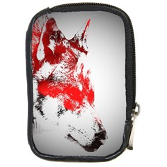 Red Black Wolf Stamp Background Compact Camera Cases