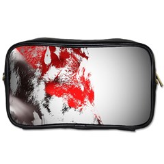 Red Black Wolf Stamp Background Toiletries Bags by Nexatart