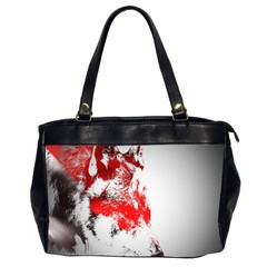 Red Black Wolf Stamp Background Office Handbags (2 Sides)  by Nexatart