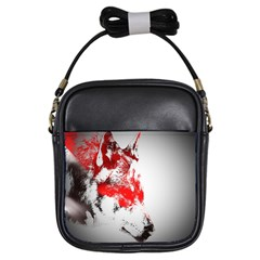 Red Black Wolf Stamp Background Girls Sling Bags