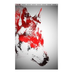 Red Black Wolf Stamp Background Shower Curtain 48  X 72  (small)  by Nexatart