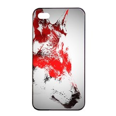 Red Black Wolf Stamp Background Apple Iphone 4/4s Seamless Case (black) by Nexatart