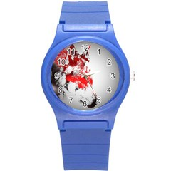 Red Black Wolf Stamp Background Round Plastic Sport Watch (s) by Nexatart