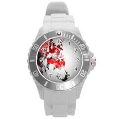 Red Black Wolf Stamp Background Round Plastic Sport Watch (l)