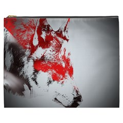 Red Black Wolf Stamp Background Cosmetic Bag (xxxl)