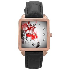 Red Black Wolf Stamp Background Rose Gold Leather Watch  by Nexatart