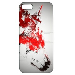 Red Black Wolf Stamp Background Apple Iphone 5 Hardshell Case With Stand