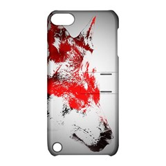 Red Black Wolf Stamp Background Apple Ipod Touch 5 Hardshell Case With Stand by Nexatart