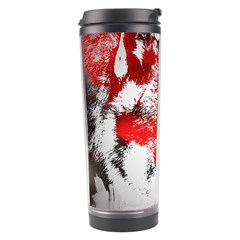 Red Black Wolf Stamp Background Travel Tumbler by Nexatart