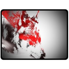 Red Black Wolf Stamp Background Double Sided Fleece Blanket (large)  by Nexatart