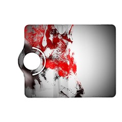 Red Black Wolf Stamp Background Kindle Fire Hd (2013) Flip 360 Case by Nexatart
