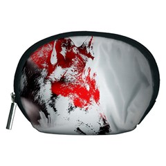 Red Black Wolf Stamp Background Accessory Pouches (medium)
