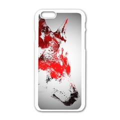 Red Black Wolf Stamp Background Apple Iphone 6/6s White Enamel Case by Nexatart