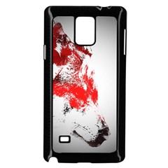 Red Black Wolf Stamp Background Samsung Galaxy Note 4 Case (black)