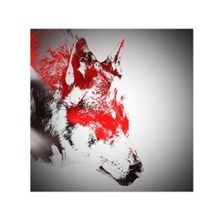 Red Black Wolf Stamp Background Small Satin Scarf (square) by Nexatart
