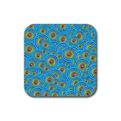 Digital Art Circle About Colorful Rubber Square Coaster (4 Pack)  by Nexatart