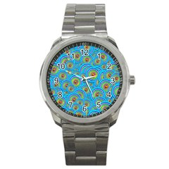 Digital Art Circle About Colorful Sport Metal Watch by Nexatart
