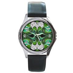 Fractal Art Green Pattern Design Round Metal Watch by Nexatart