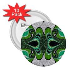 Fractal Art Green Pattern Design 2 25  Buttons (10 Pack)