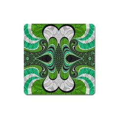 Fractal Art Green Pattern Design Square Magnet