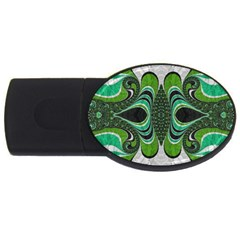 Fractal Art Green Pattern Design Usb Flash Drive Oval (2 Gb) by Nexatart