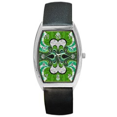 Fractal Art Green Pattern Design Barrel Style Metal Watch by Nexatart