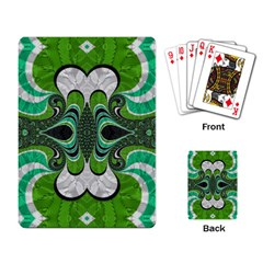Fractal Art Green Pattern Design Playing Card by Nexatart