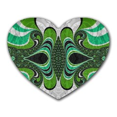 Fractal Art Green Pattern Design Heart Mousepads by Nexatart