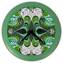 Fractal Art Green Pattern Design Color Wall Clocks by Nexatart