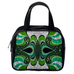 Fractal Art Green Pattern Design Classic Handbags (one Side)