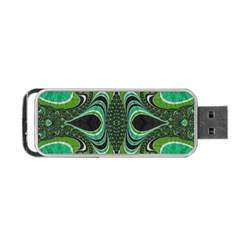 Fractal Art Green Pattern Design Portable Usb Flash (two Sides) by Nexatart