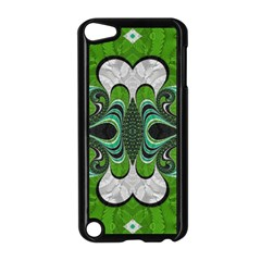 Fractal Art Green Pattern Design Apple Ipod Touch 5 Case (black)