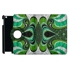 Fractal Art Green Pattern Design Apple Ipad 2 Flip 360 Case by Nexatart
