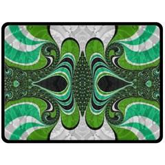 Fractal Art Green Pattern Design Double Sided Fleece Blanket (large)  by Nexatart