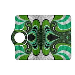 Fractal Art Green Pattern Design Kindle Fire Hd (2013) Flip 360 Case by Nexatart