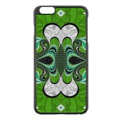 Fractal Art Green Pattern Design Apple Iphone 6 Plus/6s Plus Black Enamel Case