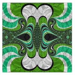 Fractal Art Green Pattern Design Large Satin Scarf (square)