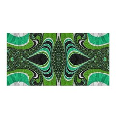 Fractal Art Green Pattern Design Satin Wrap