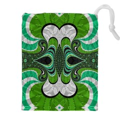 Fractal Art Green Pattern Design Drawstring Pouches (xxl) by Nexatart