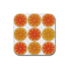 Orange Discs Orange Slices Fruit Rubber Square Coaster (4 Pack)