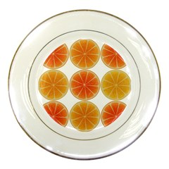 Orange Discs Orange Slices Fruit Porcelain Plates by Nexatart